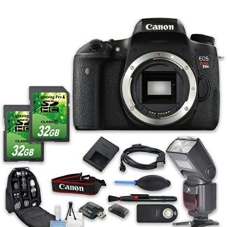 Canon EOS Rebel T6s DSLR Camera Bundle + 2 PC 32 GB Memory Card + Camera Backpack + Flash