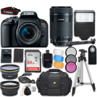 Canon EOS Rebel T7i DSLR Camera with Canon EF-S 18-55mm f/4-5.6 IS STM Lens + Canon EF-S 55-250mm f/4-5.6 IS STM Lens + Accessory Bundle