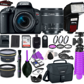 Canon EOS Rebel T7i Digital SLR Camera with Canon EF-S 18-55mm IS STM Lens + Automatic Flash + LED Video Light, Close-Up Lens Set, 32GB Memory Card + Accessory Bundle