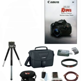 Canon EOS Rebel Instructional Video with Focus Deluxe 8-Inch Tripod & Canon Shoulder Bag with Accessory Bundle