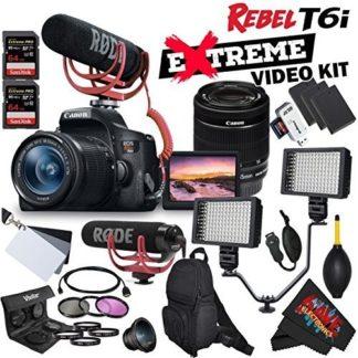 Canon EOS Rebel T6i DSLR Camera with EF-S 18-55mm f/3.5-5.6 IS STM Lens 0591C003 + Rode VideoMic GO + Backpack + Dual LED Video Light Bracket Professional Videographer Bundle