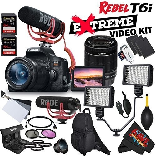Canon EOS Rebel T6i DSLR Camera with EF-S 18-55mm f/3 5-5 6 IS STM Lens  0591C003 + Rode VideoMic GO + Backpack + Dual LED Video Light Bracket