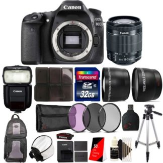 Canon EOS 80D Digital SLR with 18-55mm Lens, Canon Speedlite 430EX Flash lll and Accessory Bundle