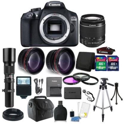 Canon EOS Rebel 1300D/T6 18MP DSLR Camera +18-55mm Lens 500 MM Lens 24GB Bundle