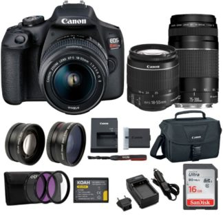 Canon EOS REBEL T7 with EF 18-55mm and EF 75-300mm Double Zoom Bundle