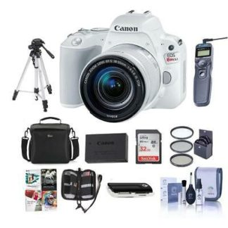 Canon EOS Rebel SL2 DSLR with EF-S 18-55mm STM Lens White w/Premium Acc Bundle