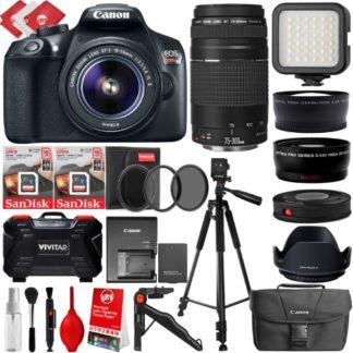 Canon EOS Rebel T6 DSLR Camera w/ Canon EF-S 18-55mm f/3.5-5.6 IS II Lens + Canon EF 75-300mm f/4-5.6 III Lens + (24PC, 32GB, 4 Lens 8 to 600mm, Starter Bundle)