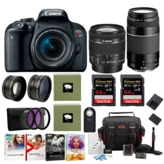 Canon EOS Rebel T7i DSLR Camera with 18-55mm and 75-300mm Lens Pro Bundle