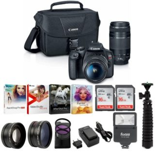 Canon T7 EOS Rebel DSLR Camera with EF-S 18-55mm and EF 75-300mm Lens and Bundle
